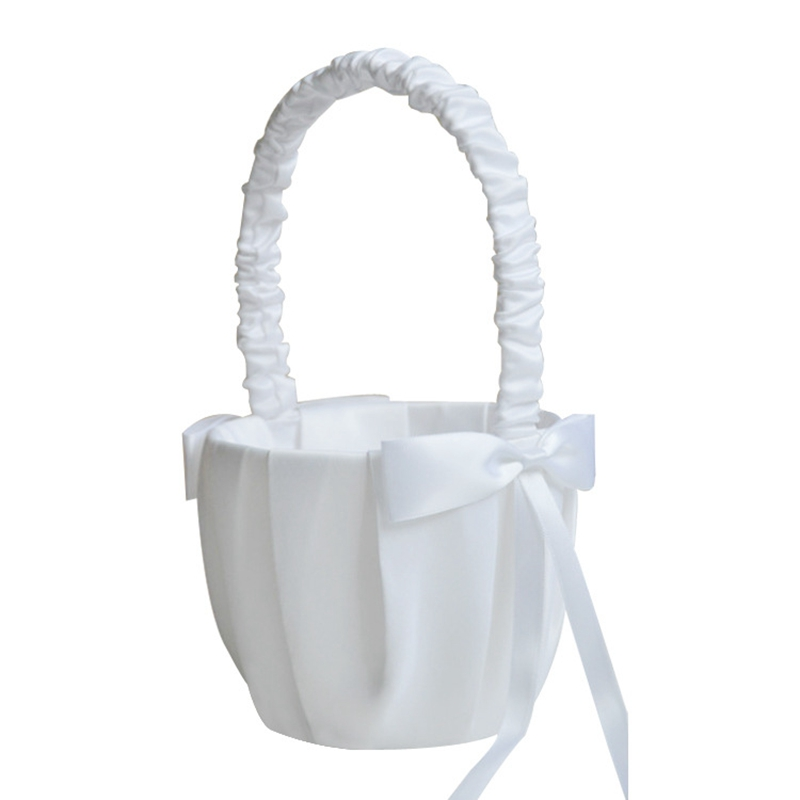 Best Romantic Bowknot White Satin Wedding Ceremony Party Flower Girl Basket|Flower Pots & Planters| |  -