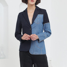 Autumn new patchwork blazer women denim lapel coll