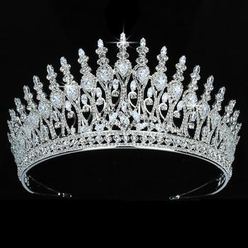 Тиары и короны HADIYANA элегантные винтажные женские свадебные аксессуары для волос очаровательные вечерние украшения для волос из циркона ...