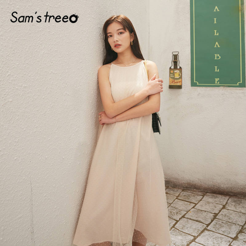 SAM'S TREE Apricot Solid Dot Casual Women Maxi Party Dresses 2020 Spring Contrast Mesh Slash Neck Sleeveless Girly Holiday Dress