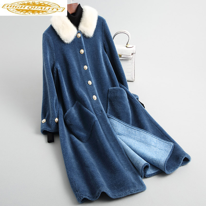 Women Real Wool Fur Coat Natural Mink Fur Collar 2020 New Korean Long Sheep Shearing Coats Winter Jacket Female 18164-1