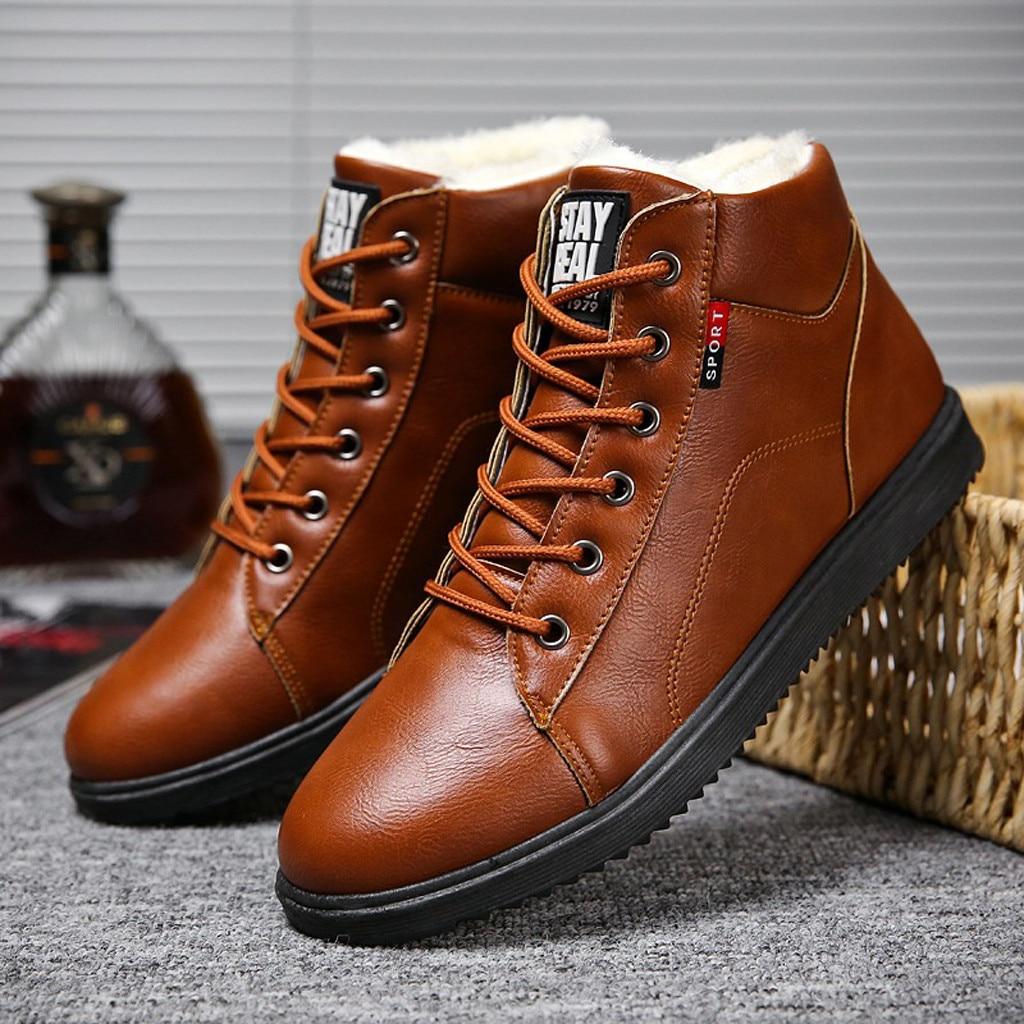 mens shoes casual leather boots Autumn Winter shoes work men's Wear Non-Slip Shoes Retro Shoes zapatos de hombre 2019 #y4