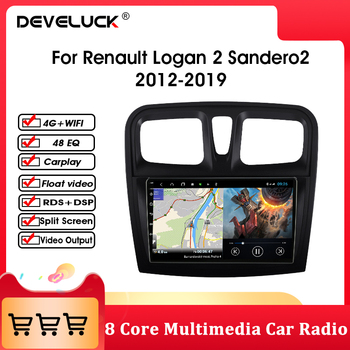 Android 10 Car Radio Multimedia Player For Renault Logan 2 Sandero2 2012-2019 IPS GPS Navigation 4G Net+WIFI RDS Split Screen image
