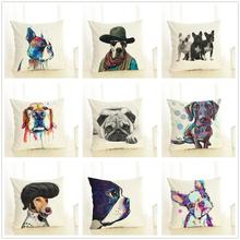 Modern Cushion Cover 45x45 cm Pillowcase Soft Cotton Linen Blend  Pillow Cover Cartoon Pet Dog Sofa Cushion Cover for Home Decor цены