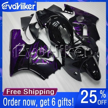 Custom motorcycle cowl for ZX-12R 2000-2001 ZX12R 00 01 ABS fairing Injection mold purple flames+gifts