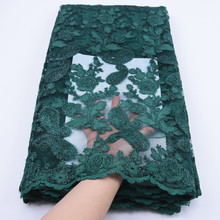 2019 High Quality African Bone Rope Twining Lace Fabric Green French Mesh Lace Fabrc For Nigerian Dress Sewing Lace Fabric F1765