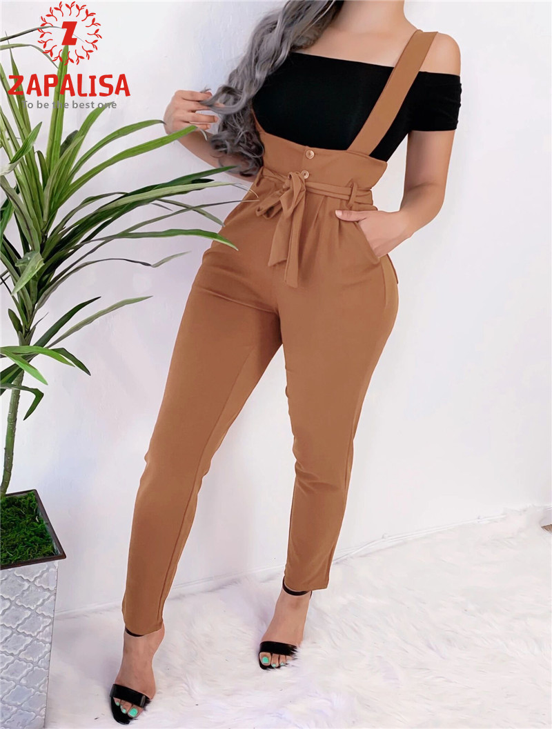 Zapalisa Slim Hips High Waist Halter Overalls Fashion Solid Color Patchwork Button Pocket Decor Sashes Bandage Women Pants