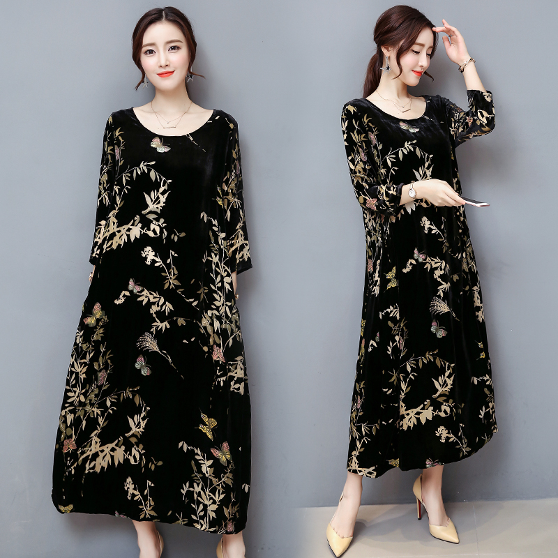 winter  black gold velvet dress  1
