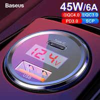 Baseus led 6a carga rápida 4.0 3.0 usb carregador de carro para xiao mi 9 huawei p30 pro qc4.0 qc3.0 rápido pd carro carregador de carregamento do telefone