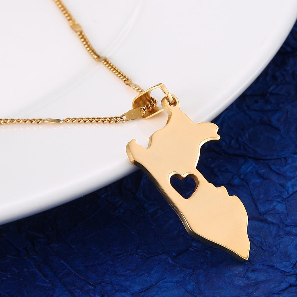 Модные ожерелья из нержавеющей стали с подвеской в виде карты Перу, цепочка с сердцем в виде карты Перу, ювелирные изделия