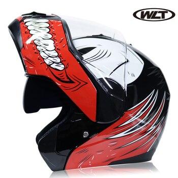 Casco de motocicleta abatible con visera interna, Casco de moto abatible