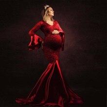 Dresses Maxi-Gown Photography-Props Lace Pregnancy-Dress Photo-Shoots Fancy Long Elegence