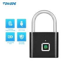 Towode 1 adet akıllı USB şarj edilebilir kapı kilidi parmak izi asma kilit çanta hızlı kilidini parmak izi dolap kilidi