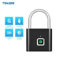 Towode 1pc inteligente usb recarregável fechadura da porta impressão digital cadeado para saco de desbloqueio rápido bloqueio do armário impressão digital