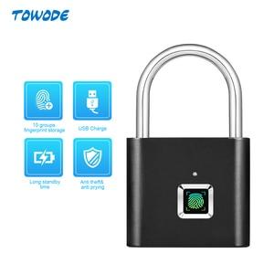 Image 1 - Towode cerradura inteligente de puerta recargable por USB candado de huella digital para bolsa, desbloqueo rápido, caja de huella dactilar, 1 ud.