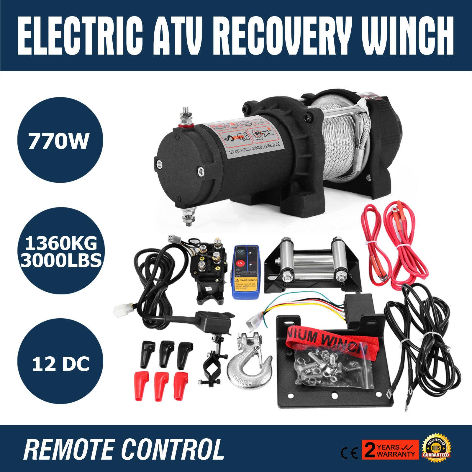 3000LB 12V Electric Winch With Wireless Remote Trailer 4X4 Truck Boat Atv SUV