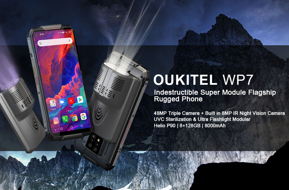 OUKITEL WP7 NFC IP68 Smartphone 8GB 128GB Octa Core 8000mAh 48MP Rugged Waterproof 6.53'' Infrared night vision  Mobile Phone