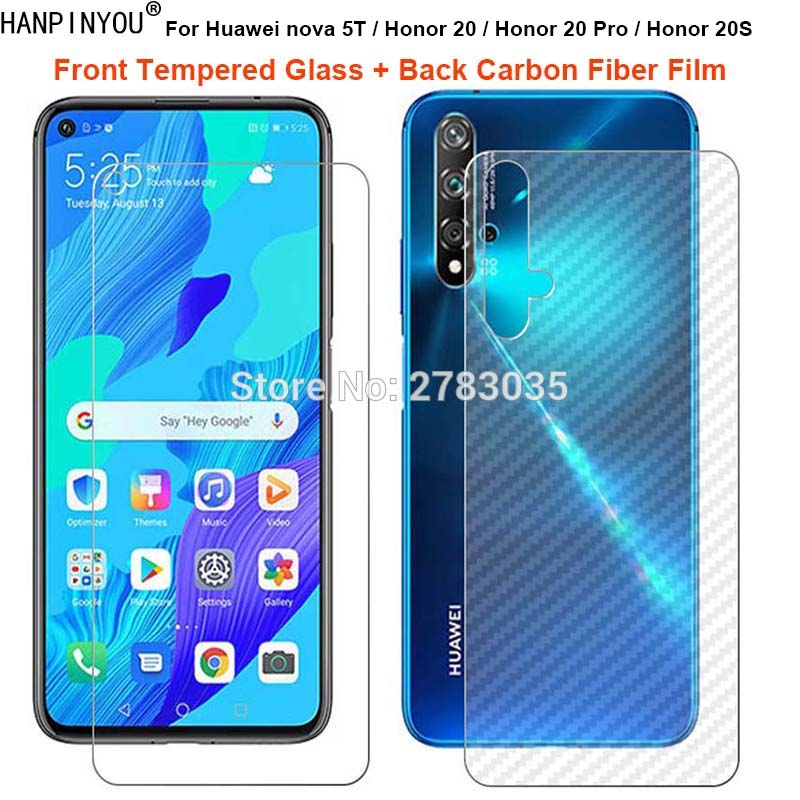 For Huawei Nova 5T / Honor 20 Pro 20S 1 Set = Soft Back Carbon Fiber Film + Ultra Thin 9H Tempered Glass Front Screen Protector