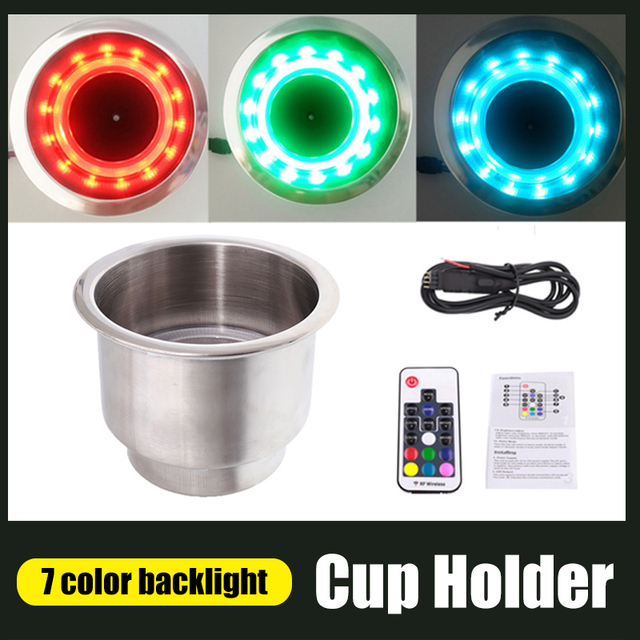 Marine Cup Holder Stainless Steel 7 Color Drink Cup Holder Car Styling With Remote Control LED Light For Universal Auto Car Boat