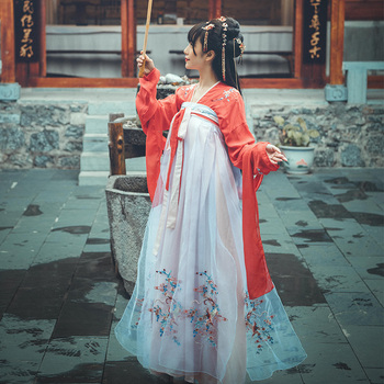 Summer Hanfu National Costume Ancient Chinese Cosplay Costume Embroidery Slim Women Hanfu Clothes Lady Chinese Dress DWY2814