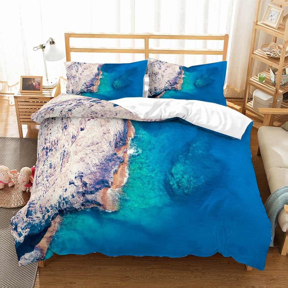 2/3pcs Nature View Bedding Set Snow Trees Duvet Cover Set Sunrise Outer Space Galaxy Bed Linen Set Tropical Beach Bedclothes