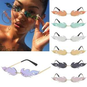 Narrow Sunglasses Flame Eyewear Fashion-Accessories Fire Trending Rimless Women Wave