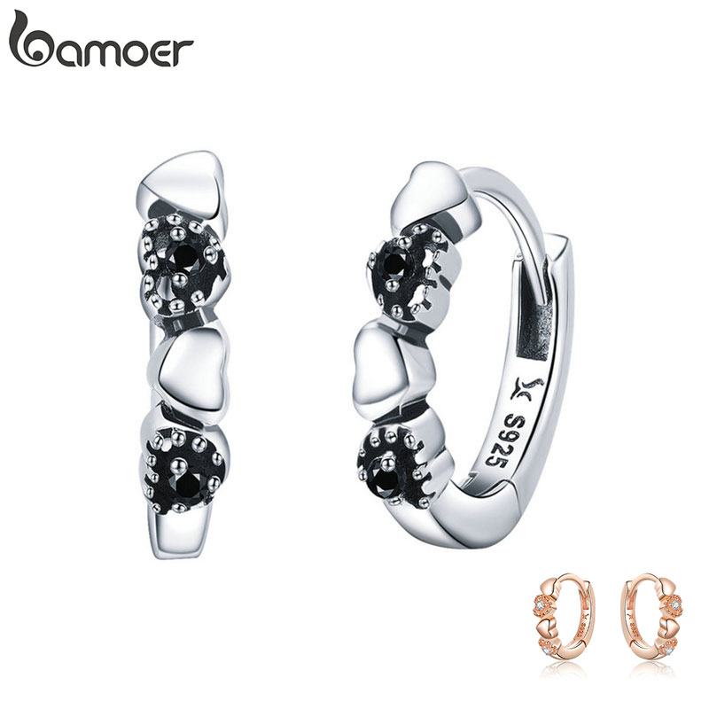 BAMOER 925 Sterling Silver Heart To Heart Hoop Earrings Silver For Women Sterling Silver Jewelry Valentine's Day Gift SCE445