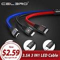 3.5A 3 в 1 светодиодный USB кабель type C Microusb кабель для зарядки телефона Micro USB C кабель мульти type-C телефонный кабель для huawei P30 Pro Lite