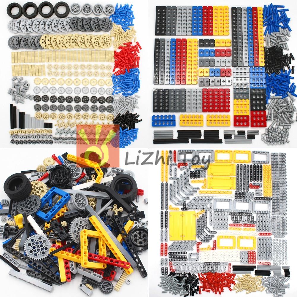 Technic Set строительные блоки кирпичи автомобильные шины Шестерня Liftarm луч поперечная ось DIY сборка MOC оптом просветленные пластиковые игрушки ...