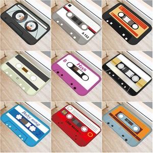 Cassette Tape Mats Anti Slip Floor Carpet Tape Pattern Print Doormat for Bathroom Kitchen Entrance Rugs Home Decoration(China)