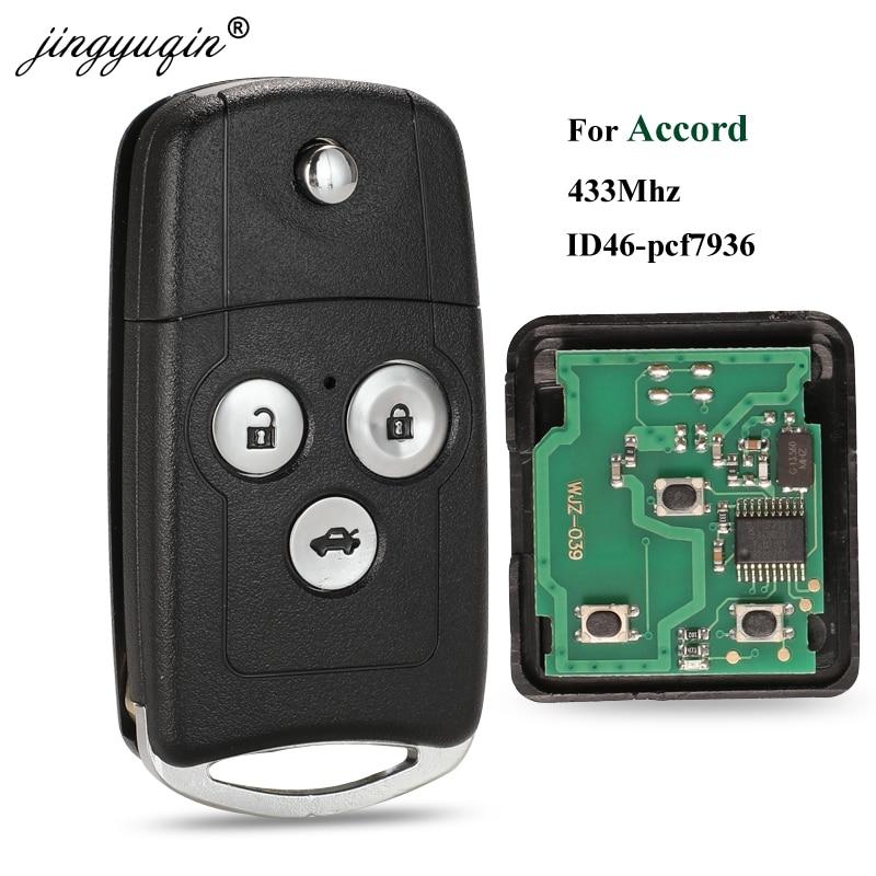 Jingyuqin 3 botões flip remoto chave fob para honda accord 2008-2012 civic velho 433 mhz com id46 pcf7936 chip de controle de chave de dobramento