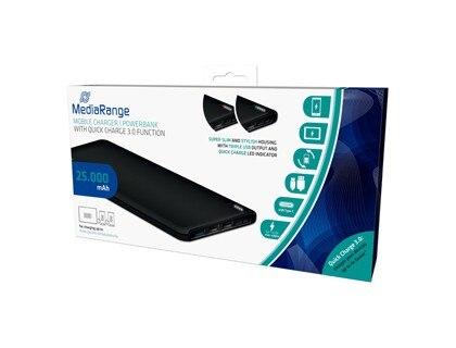 Портативное зарядное устройство MEDIARANGE POWERBANK 25000 MAH 3 USB выход зарядка FUNTION аккумуляторная батарея полимерный литиевый