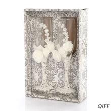 2 шт набор свадебных стеклянных креативных жемчужных цветочных хрустальных свадебных бокалов для шампанского es