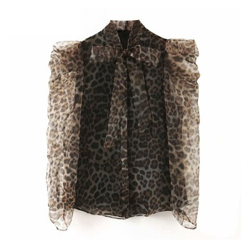 Women chic leopard bow tie collar blouse Organza lantern sleeve office wear female shirt see through top blusas chic bow tie collar sleeveless pure color blouse for women
