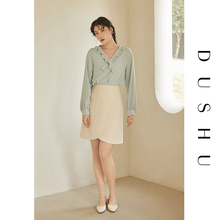 DUSHU Plus Size Women High-end Sense Of V-neck Shirt Women Long-sleeved Spring 2021 New Long-sleeved Mint Green Shirt