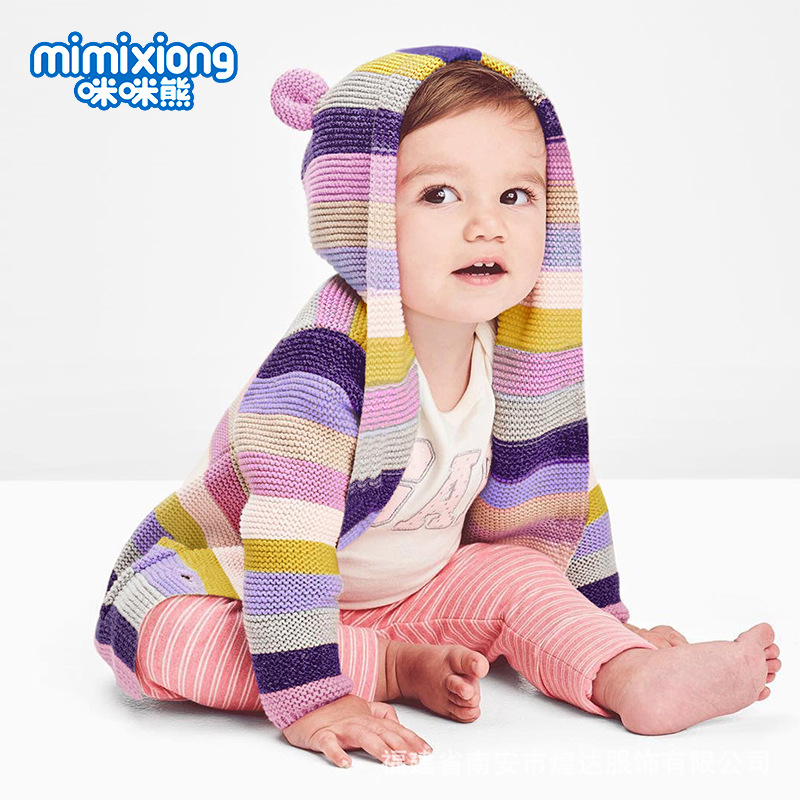 INS Hot Selling Hot Models Children's Striped Knit Cardigan Hot Selling