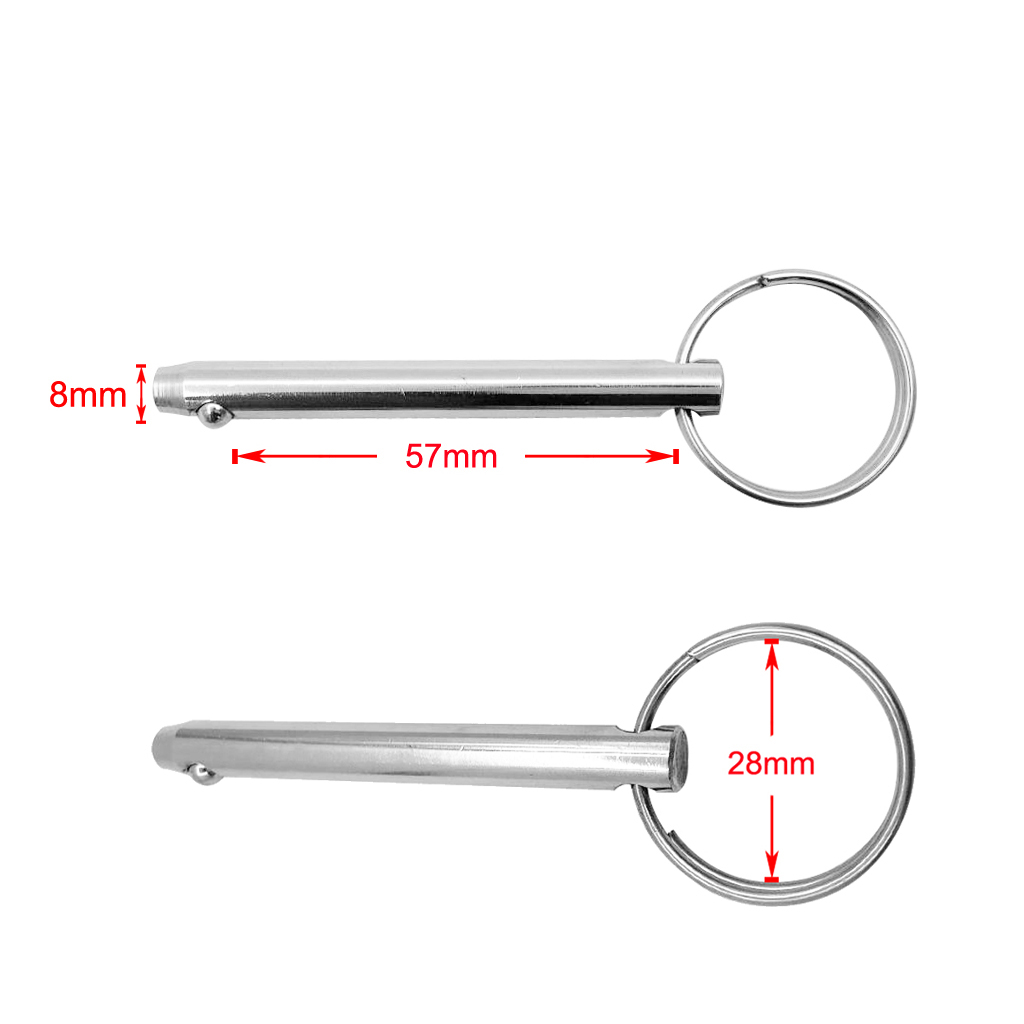 4 Pieces Stainless Steel <font><b>Boat</b></font> <font><b>Bimini</b></font> <font><b>Top</b></font> Deck Hinge Quick Release Ball Pin 5/16'' 8mm image