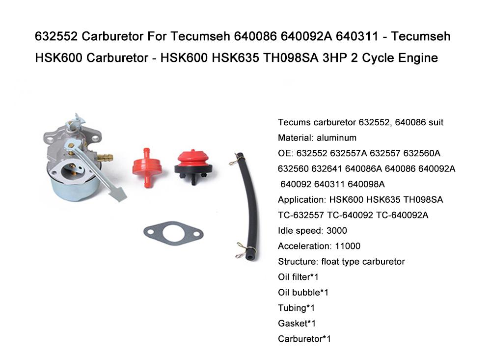 Carb For Tecumseh HSK600 HSK635 TH098SA TC-632557 TC-640092 TC-640092A models