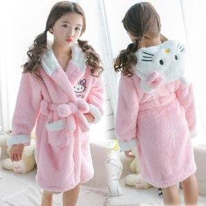 Халат для мамы, дочки, котенка, девочки, розовый банный халат, Детская плотная зимняя Пижама с капюшоном, фланелевый длинный халат