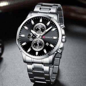 Image 2 - CURREN mode hommes Quartz chronographe montres décontracté montre daffaires en acier inoxydable horloge mâle Date Reloj multifuncion