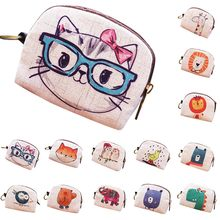 Aelicy Cute Short Wallet Women Vintage Canvas Coin Purse Girl Card Holder Clutch Kids Cartoon Cat/Fox/Owl Small Change Purses(China)