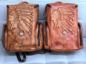 Image 2 - Vintage Leather Mens Backpack Casual Computer Bag Men Travel Backpacks Schoolbag Retro Simple Polishing Old Distressed Leather