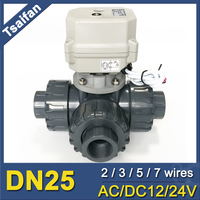 DN25 3 way PVC electric control water valve DC24V electric motor control ball valve with manual override used for auto system