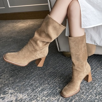 New 2020 Autumn Winter Women's Ankle Boots Sexy High Heels Shoes Black Apricot Woman Dress Party Casual Short Boots Office Shoes