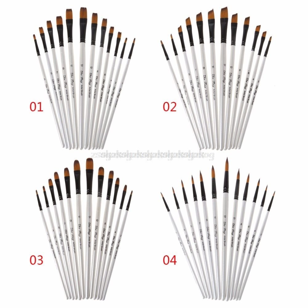 12Pcs Artist Paint Brush Set Nylon Bristles Watercolor Acrylic Oil Painting Slant Flat Round Pointed Pen Tip Wood Handle Art