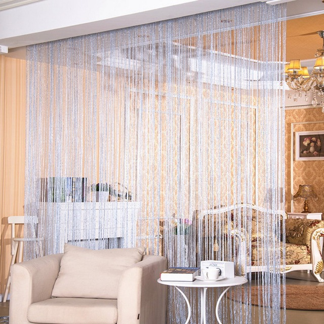 100x200cm Shiny Flash Silver Classic Line Curtain Window Door Divider Sheer Curtain Room Divider Door Decorative 2