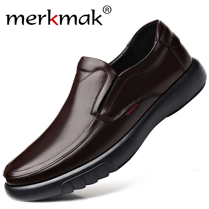 Merkmak 2020 New Genuine Leather Men Casual Shoes Comfortable Big Size 47 Men Loafers Shoes Casual Slip-on Shoe For Men Footwear