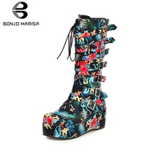 BONJOMARISA New Winter Plus Size 33-46 Fashion Flower Print mid-calf Boots Women 2019 Platform Buckle Wedges Shoes Woman