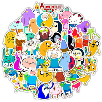 50Pcs/set Adventure Time Stickers for Laptop Phone Skateboard Bicycle Luggage Guitar Fridge Graffiti Waterproof Sticker Decals bevle a0040 famous logo laptop luggage skateboard graffiti notebook motor stickers decal fridge waterproof sticker for cars
