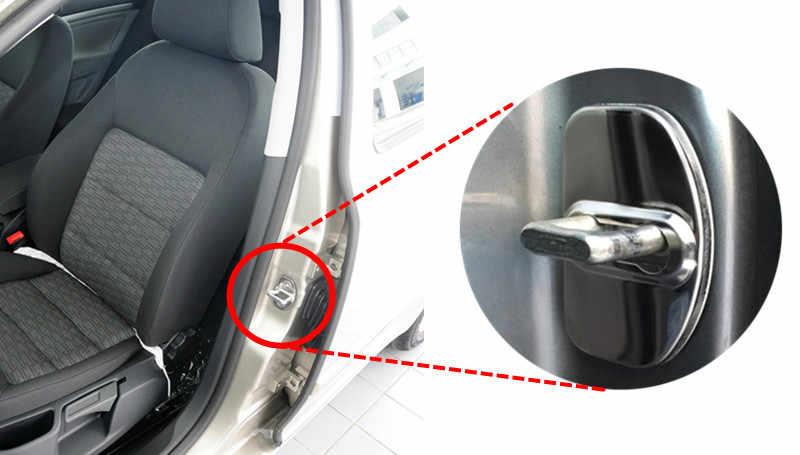 FLYJ 4PCS רכב דלת מנעול רכב מדבקת כיסוי להגן על אבזם תפס אביזרי רכב לאדה סטה xray